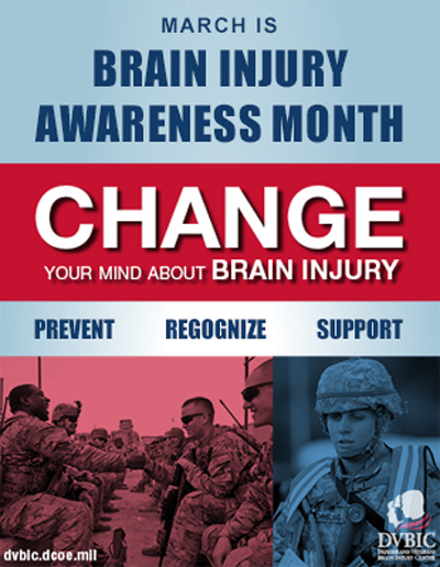 March is Brain Injury Awareness Month: Change Your Mind About Brain Injury.