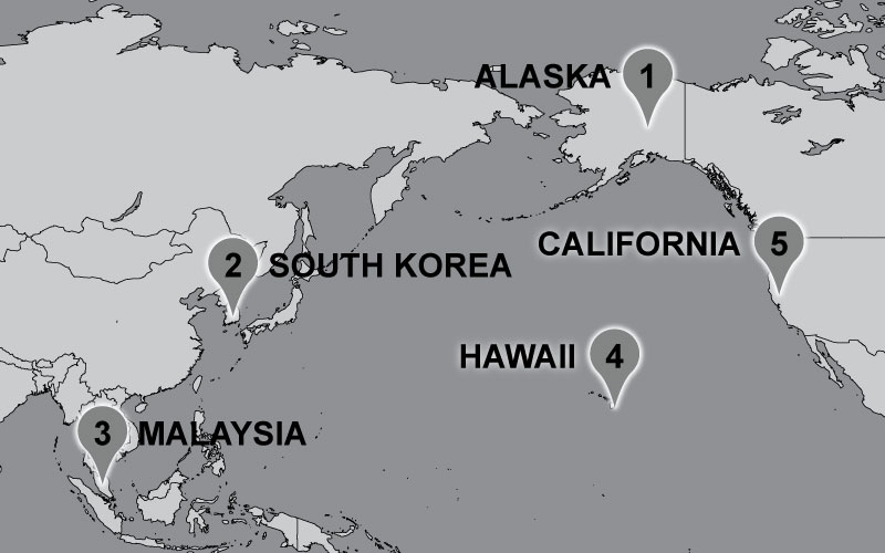 Map of Carter travel locations: Alaska, South Korea, Malaysia, Hawaii.