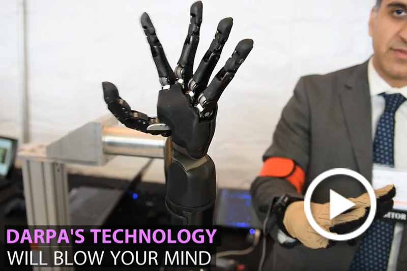 Screen grab of a robotic hand