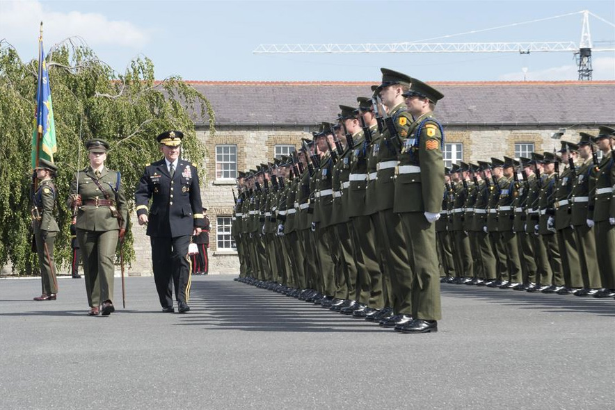 U.S.Army Gen. Martin E. Dempsey, chairman of the Joint Chiefs of Staff, conducting a pass and review of an Irish honor guard at the Cathal Brugha Barracks in Dublin, Aug. 18, 2015.