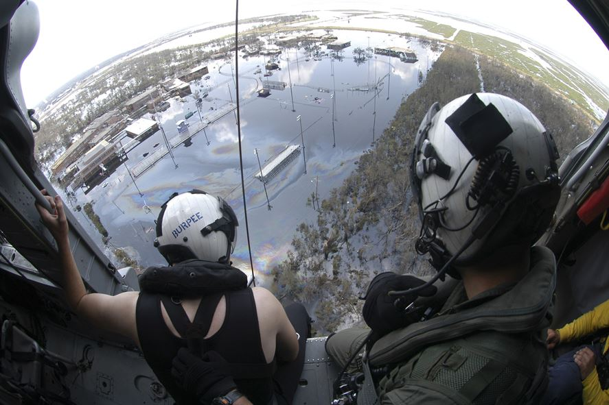 Airmen on a search-and-rescue operation