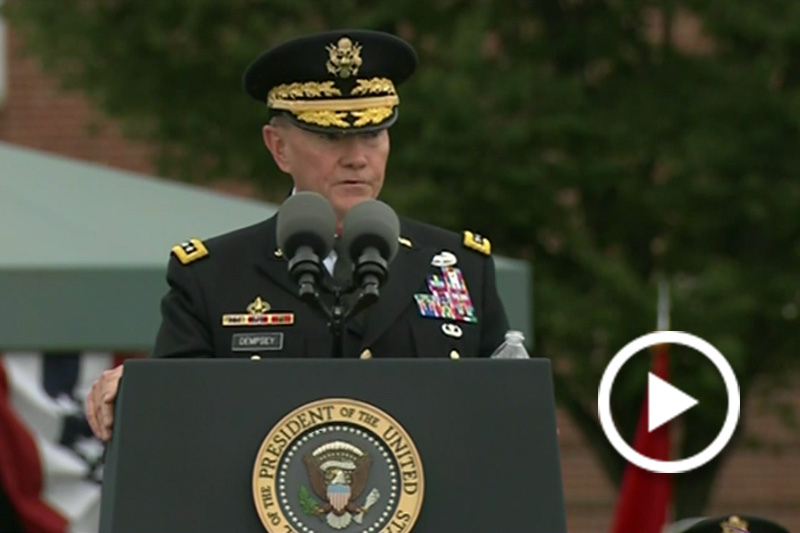 Screen grab of Chairman of the Joint Chiefs of Staff Martin Dempsey speaking at a podium.