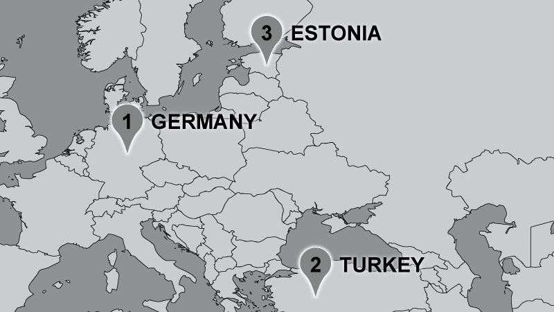 Dempsey Travel Map: Germany, Turkey, Estonia