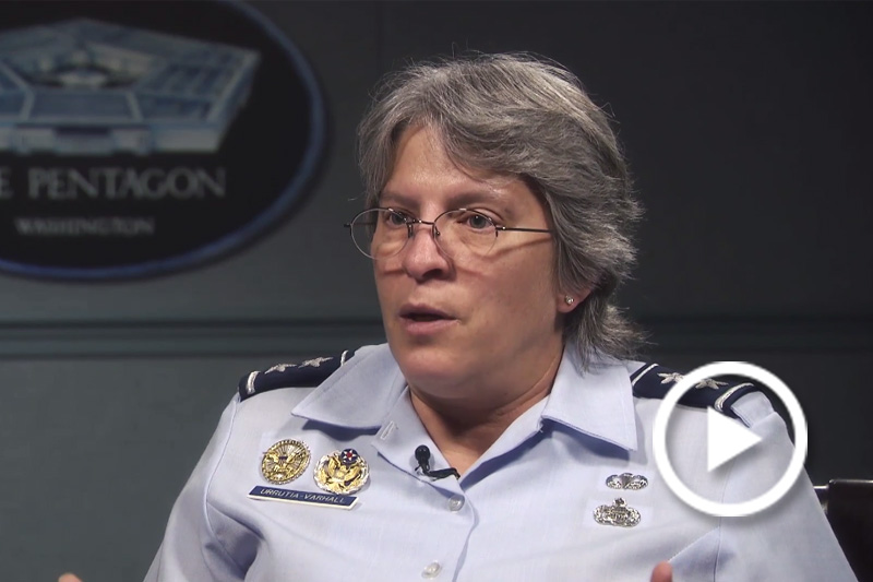 Screen grab of Major General Linda R. Urrutia-Varhall speaking during an interview.