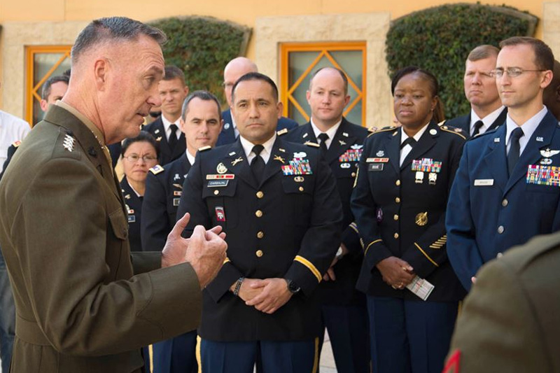 U.S. Marine Corps Gen. Joseph F. Dunford Jr., chairman of the Joint Chiefs of Staff, meeting with U.S. service members assigned to the U.S. Embassy in Amman, Jordan.