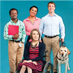 Shown is a group of individuals with specials needs and a guide dog.