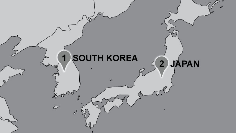 Map of Dunford travel locations: South Korea