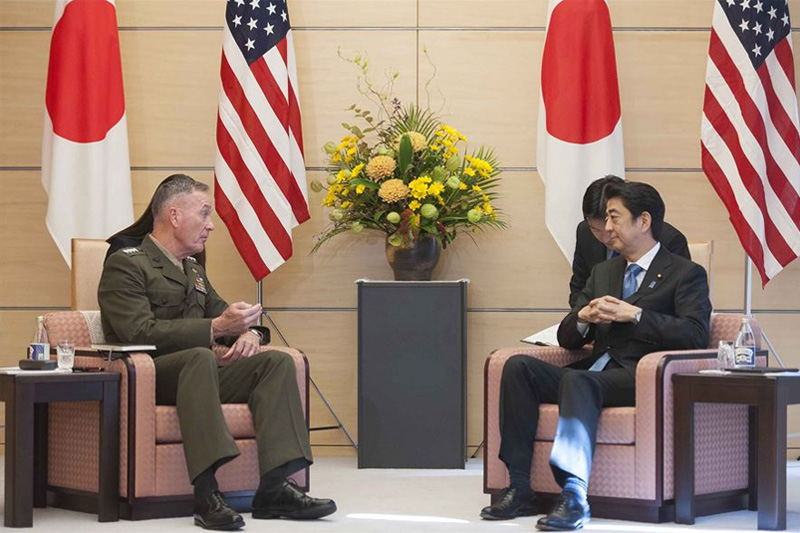 U.S. Marine Corps Gen. Joseph F. Dunford Jr., left, chairman of the Joint Chiefs of Staff, meeting with Japanese Prime Minister Shinzo Abe.