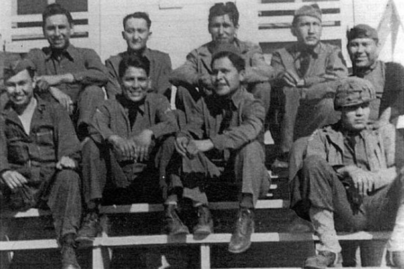 Members of the Comanche Code Talkers pose for a photo during World War II.