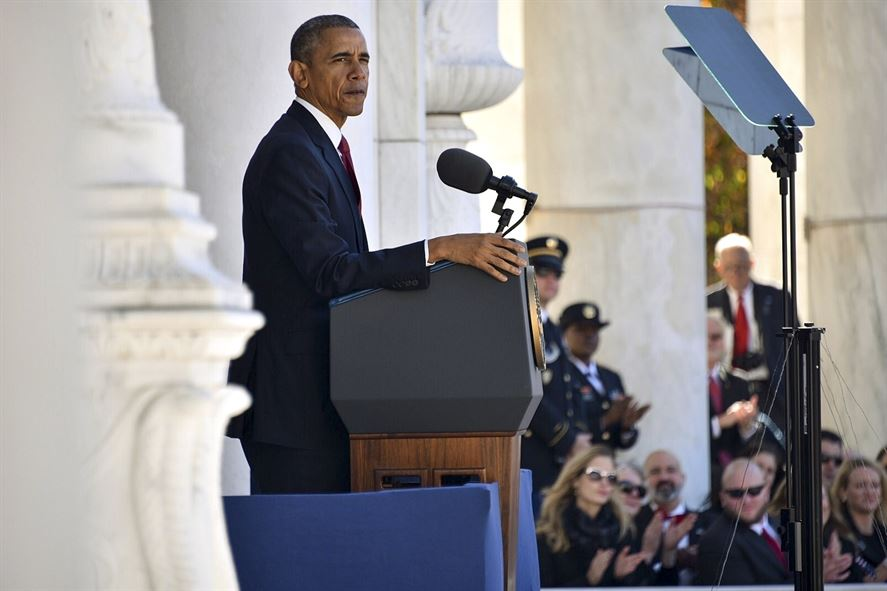 President Barack Obama standing at a podium