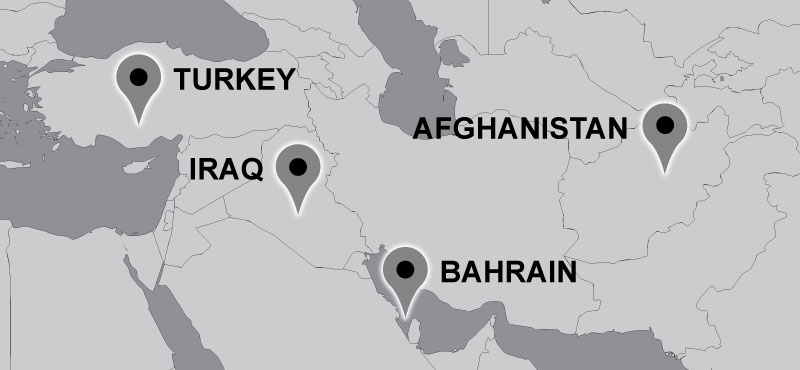 Map of Carter travel locations: Turkey, Bahrain, Iraq, Afghanistan.