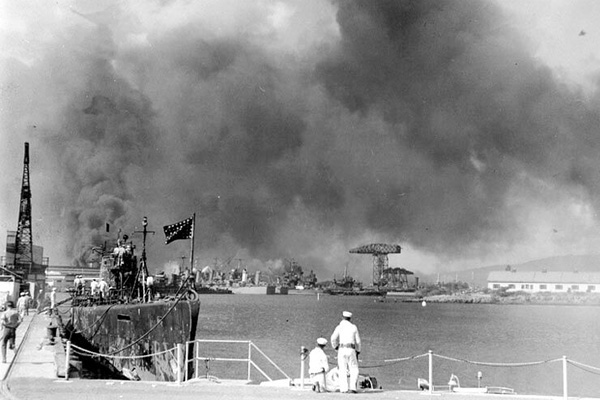 Historical photo of Pearl Harbor attack