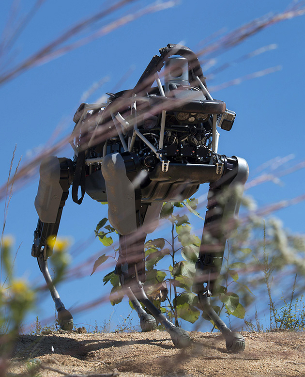 A military robot that resembles a dog.