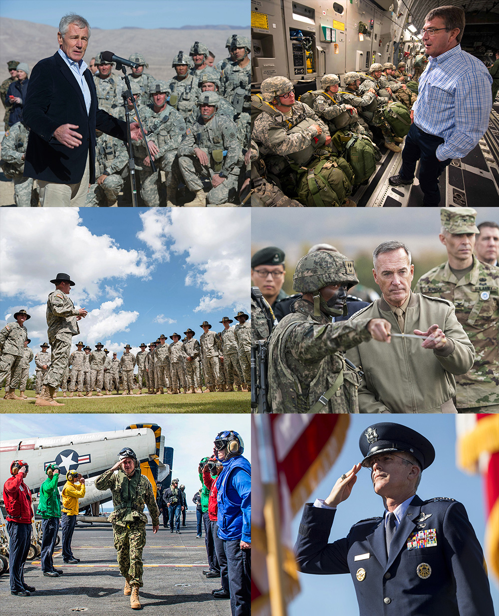 A collage of various defense leaders.