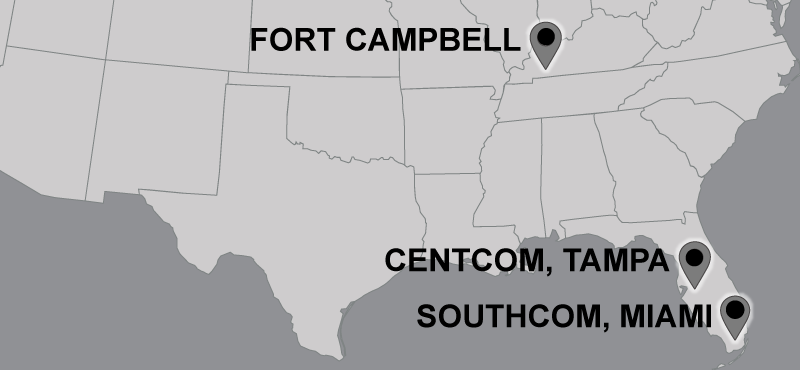 Partial map of U.S. with location pins placed in the following locations: Southcom, Miami; Centcom, Tampa; Fort Campbell, KY.
