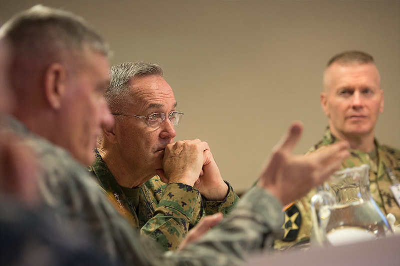 Photo of U.S. Marine Corps Gen. Joseph F. Dunford Jr., center, chairman of the Joint Chiefs of Staff.