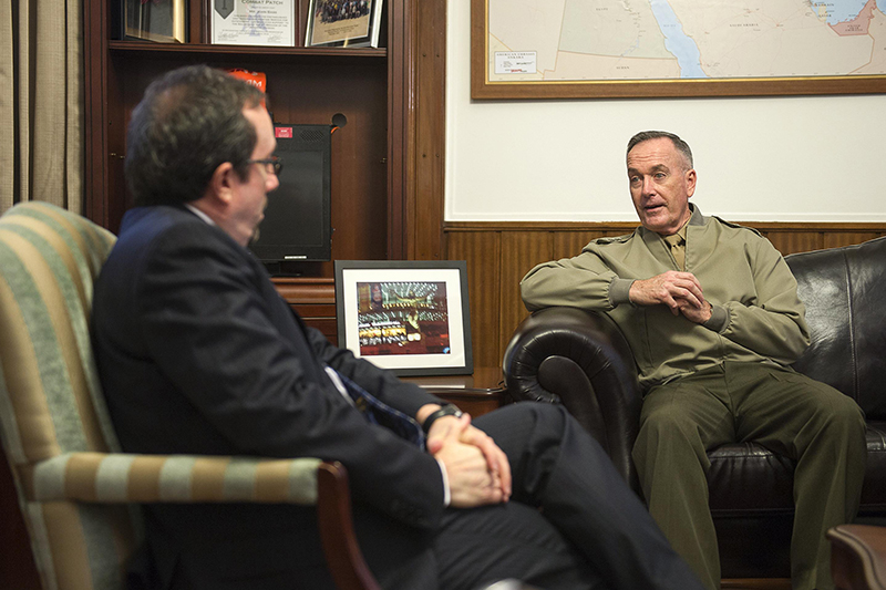 Photo of U.S. Marine Corps Gen. Joseph F. Dunford Jr., chairman of the Joint Chiefs of Staff, meeting with U.S. Ambassador to Turkey John R. Bass at the U.S. Embassy in Ankara, Turkey.