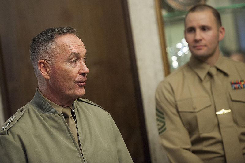 Photo of U.S. Marine Corps Gen. Joseph F. Dunford Jr., chairman of the Joint Chiefs of Staff, meeting with Marine Corps security guards assigned to the U.S. Embassy in Ankara, Turkey.