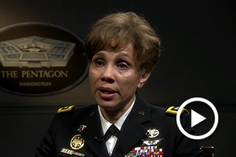 Screen grab of Lt. Gen Nadja West, Army Surgeon General, giving an interview.