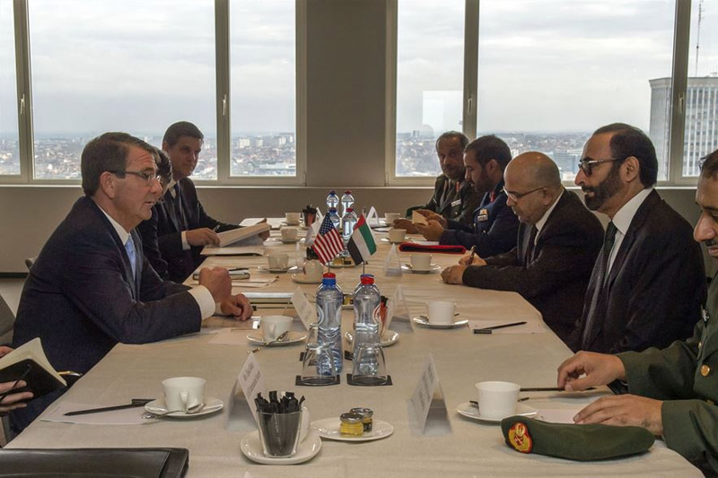 Photo of Defense Secretary Ash Carter, left foreground, meeting with United Arab Emirates Minister of State for Defense Affairs Mohammed Al Bowardi.