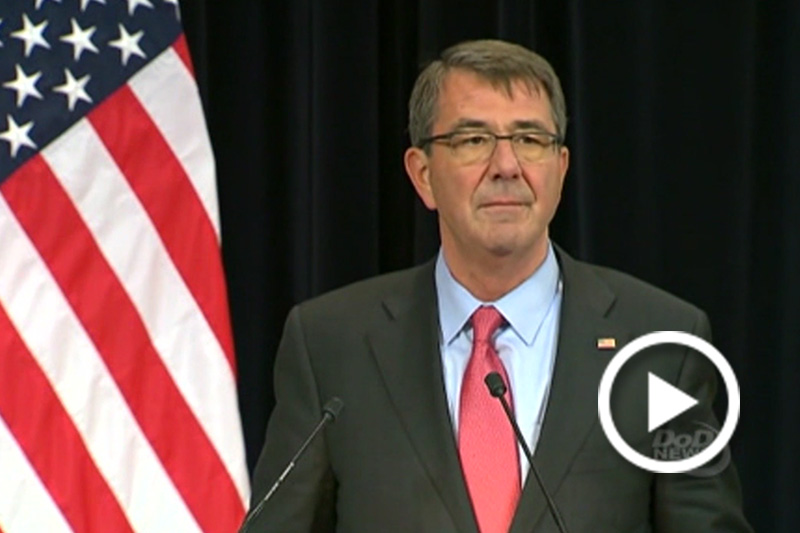 Screen grab Defense Secretary Ash Carter speaking at a NATO news conerence.
