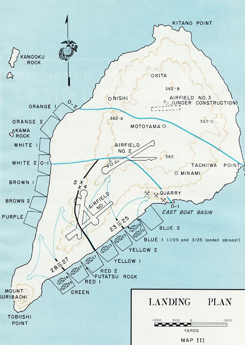 Map of Iwo Jima - Landing Plan