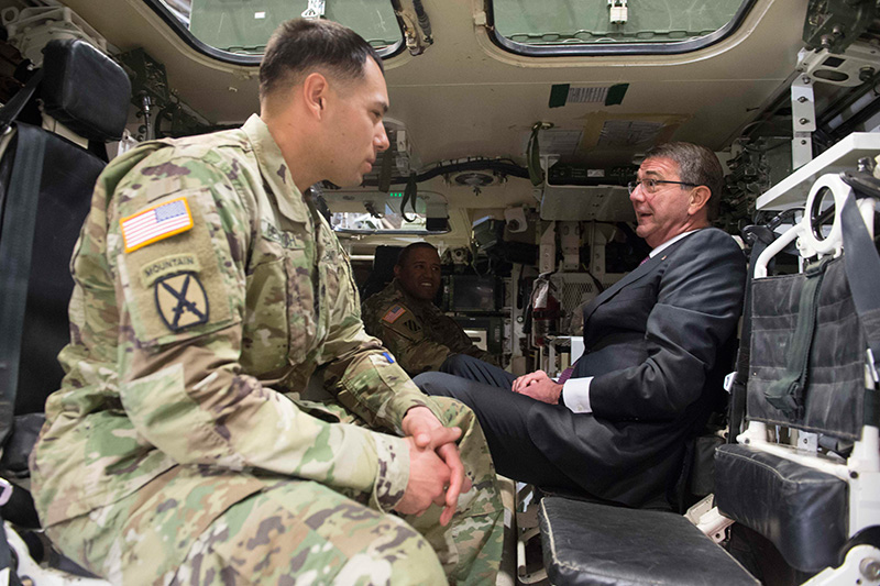 Defense Secretary Ash Carter speaking with troops.