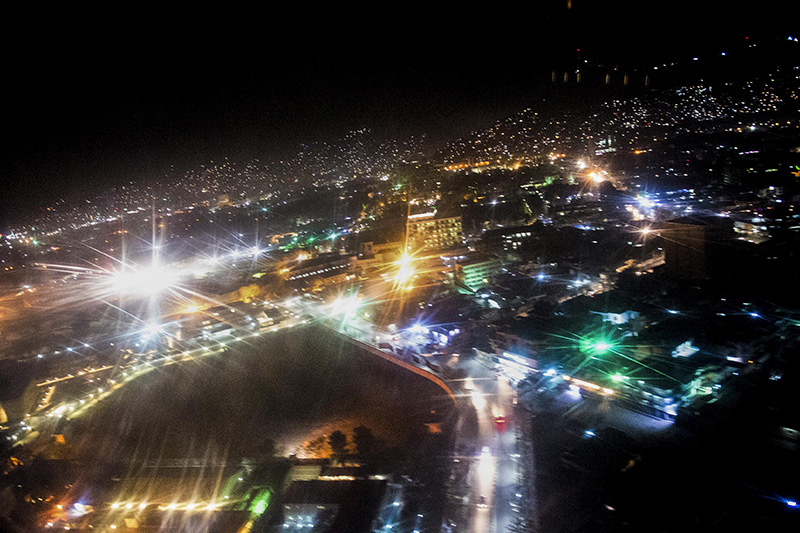 An aerial view from a UH-60 Blackhawk helicopter shows the night lights in Kabul, Afghanistan.
