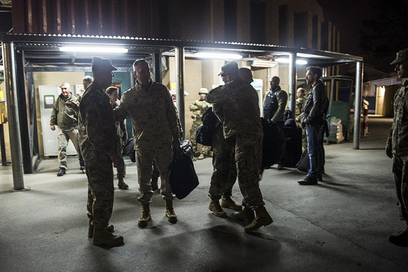 Marine Corps Gen. Joseph F. Dunford Jr., chairman of the Joint Chiefs of Staff, second from left, arriving in Kabul, Afghanistan.