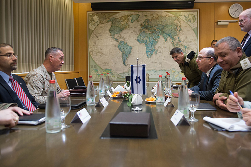 Marine Corps Gen. Joseph F. Dunford Jr., second from left, chairman of the Joint Chiefs of Staff, and U.S. Ambassador to Israel Daniel B. Shapiro, left, meeting with Israeli Defense Minister Moshe Yaalon at the Ministry of Defense.