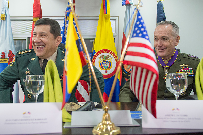 Marine Corps Gen. Joseph F. Dunford Jr., chairman of the Joint Chiefs of Staff, has a working lunch with the commander of Colombia's armed forces, Gen. Juan Pablo Rodriguez,