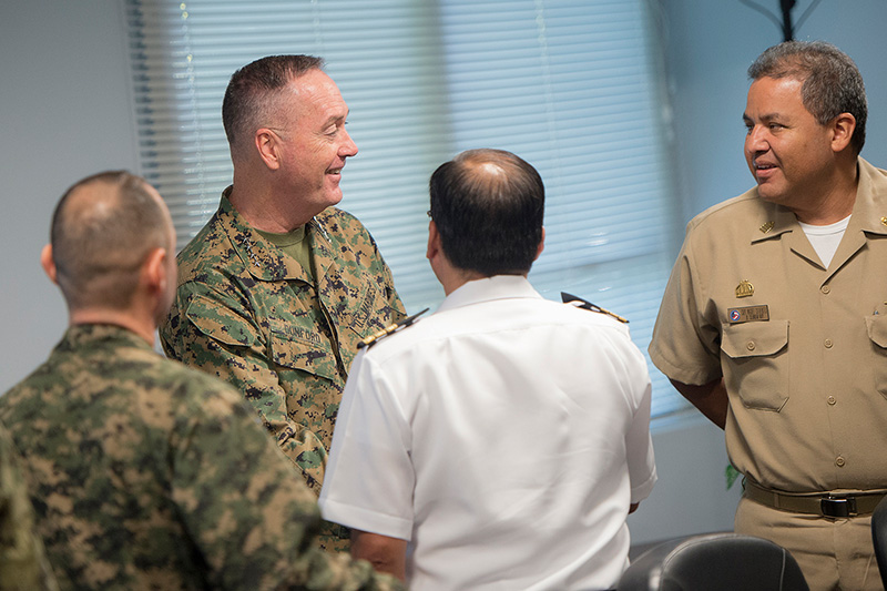 Marine Corps Gen. Joseph F. Dunford Jr., chairman of the Joint Chiefs of Staff, meeting liaison officers from countries participating in the Joint Interagency Task Force South.
