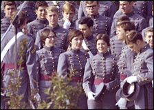 119 female cadets, a few of them seen here with their male counterparts, became the first women to join the Corps of Cadets.