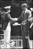 One of the first female cadets receives a diploma from the U.S. Militry Academy during the graduation ceremony May 28, 1980, at West Point, N.Y.