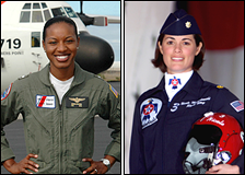 Left: Lt. j.g. Jeanine McIntish-Menze. Right: Maj. Nicole Malachowski.