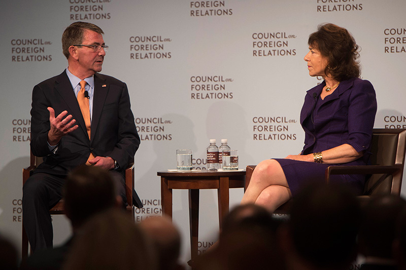 Defense Secretary Ash Carter participating in a discussion.