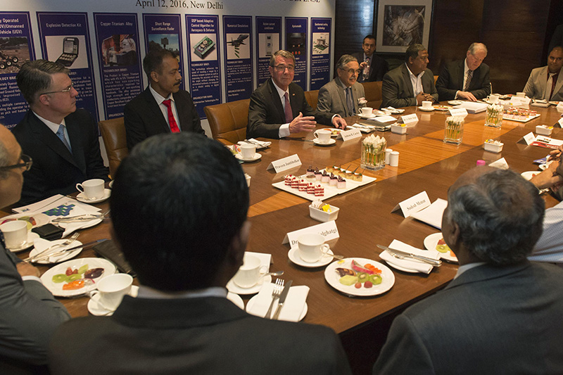 Defense Secretary Ash Carter, left center, meeting with leaders in New Delhi.