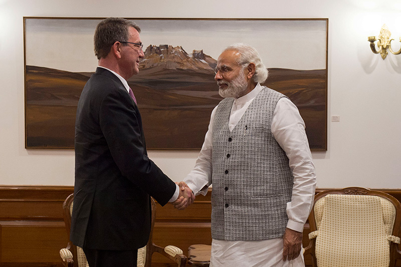 Defense Secretary Ash Carter, left, shaking hands with Indian Prime Minister Narendra Modi.