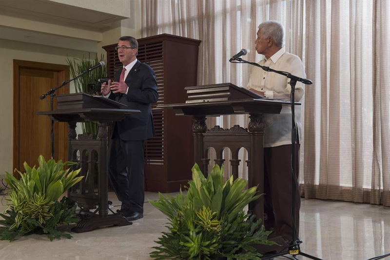 Defense Secretary Ash Carter delivering remarks during a joint press conference with Philippine Defense Secretary Voltaire Gazmin.