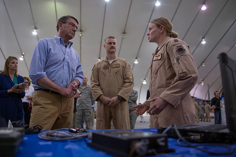 Defense Secretary Ash Carter taking a tour of a U.S. Air Force assets.