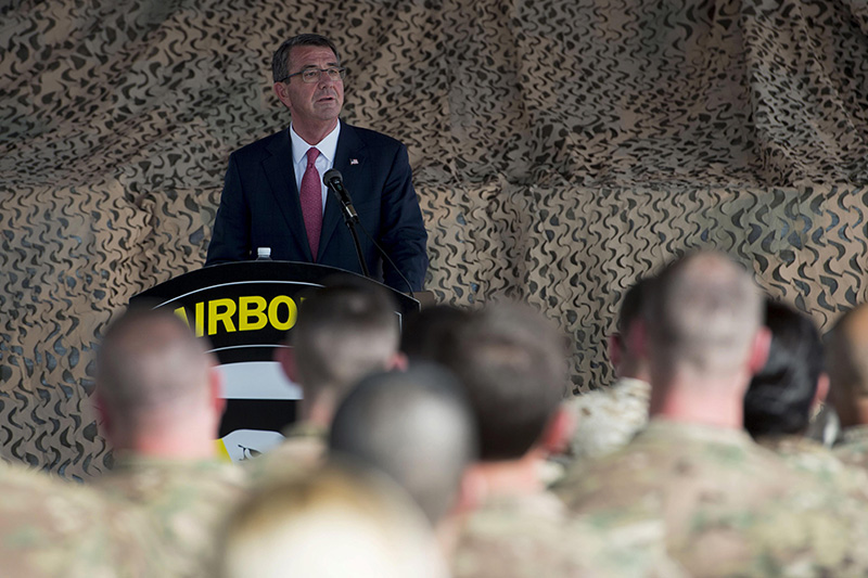 Defense Secretary Ash Carter speaking to service members.