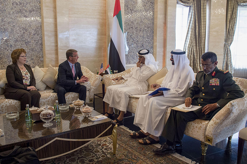 Defense Secretary Ash Carter meeting with Crown Prince and deputy supreme commander of the United Arab Emirates Armed Forces Mohammed bin Zayed.