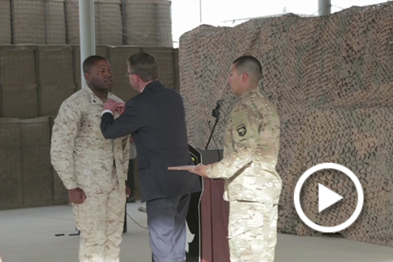 Screen grab of Defense Secretary Ash Carter shaking hands with troops.
