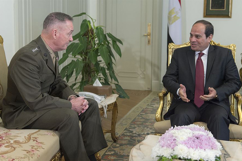 Marine Corps Gen. Joe Dunford, chairman of the Joint Chiefs of Staff, meets with the Egyptian President Abdel Fattah el-Sisi