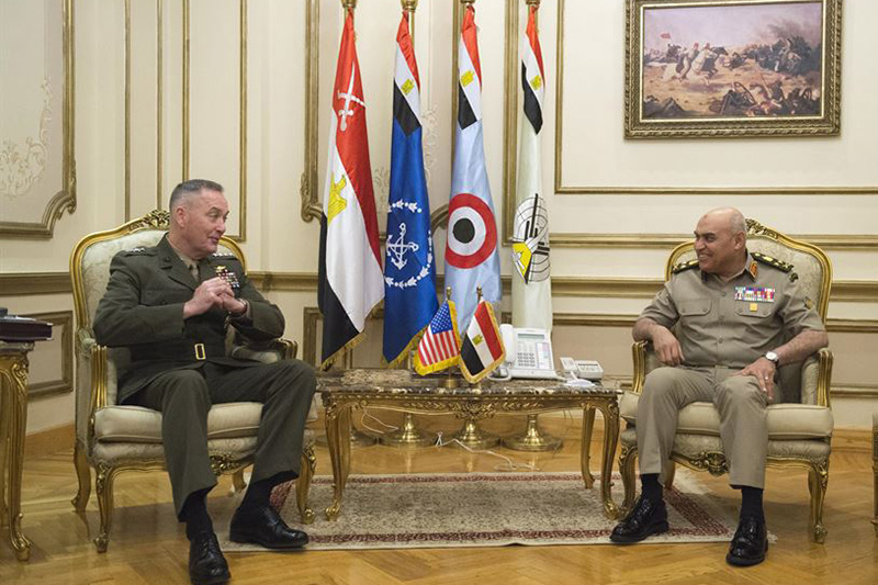 Marine Corps Gen. Joe Dunford, chairman of the Joint Chiefs of Staff, talks with Egyptian Defense Minister Col. Gen. Sedki Sobh