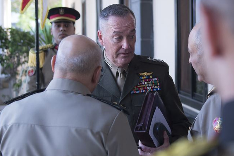 Marine Gen. Joseph F. Dunford Jr., chairman of the Joint Chiefs of Staff, speaks with Egyptian Defense Minister Col. Gen. Sedki Sobhy and Chief of the Armed Forces Lt. Gen. Mahmoud Hegaz