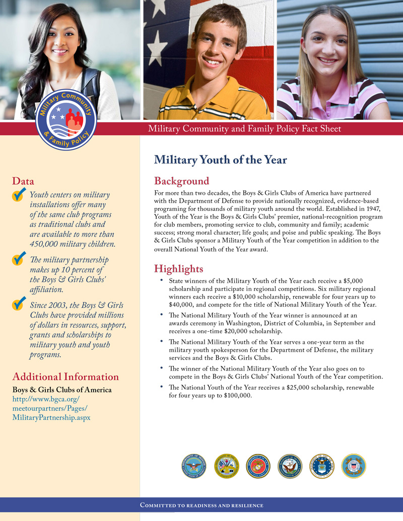 Fact Sheet: Military Youth of the Year 2016