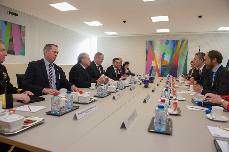 Deputy Defense Secretary Bob Work attending a meeting with NATO Secretary General Jens Stoltenberg at NATO headquarters.