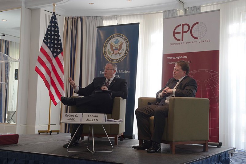 Deputy Defense Secretary Bob Work taking questions from members of the European Policy Centre.