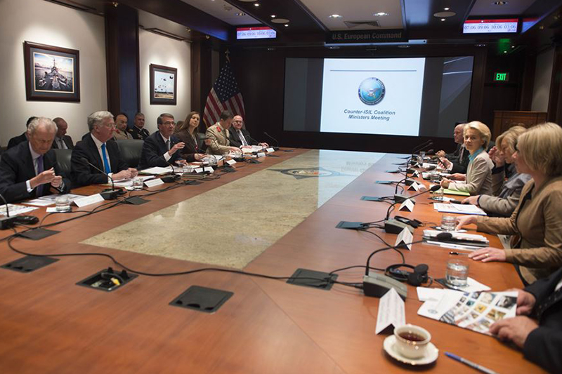 Defense Secretary Ash Carter meets with defense ministers